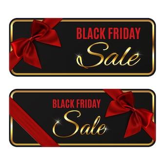 Due striscioni di vendita venerdì nero isolati su sfondo bianco.
