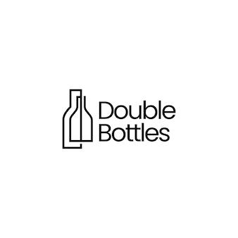 Illustrazione dell'icona di vettore del logo di due bottiglie