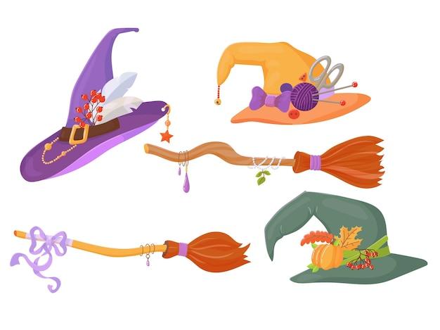 Due manici di scopa per una strega con ornamenti e un set di cappelli. articolo di costume di halloween. elemento di arredo. illustrazione vettoriale isolato su sfondo bianco.