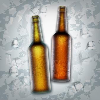 Due bottiglie di birra marrone in cubetti di ghiaccio, vista dall'alto. illustrazione della bevanda refrigerata