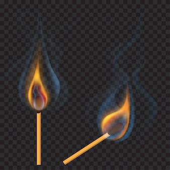 Due fiammiferi accesi: verticale e inclinato con una fiamma traslucida e fumo su trasparente
