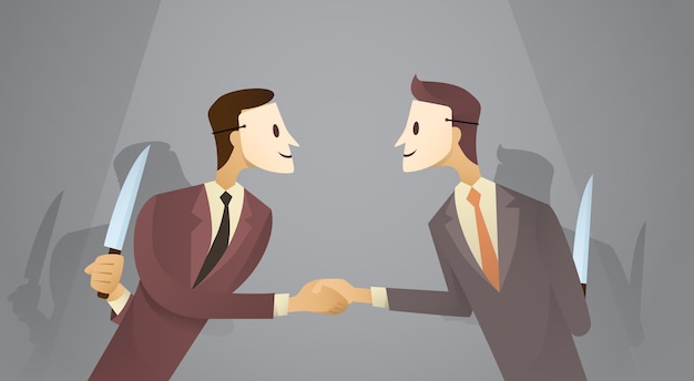 Due uomini d'affari in maschera stringono le mani