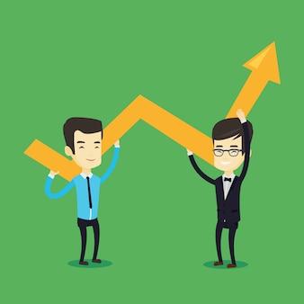 Due uomini d'affari in possesso di grafico di crescita.