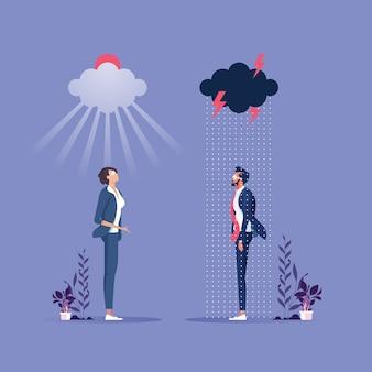Due uomini d'affari di buon umore e cattivo umore-concetto di business