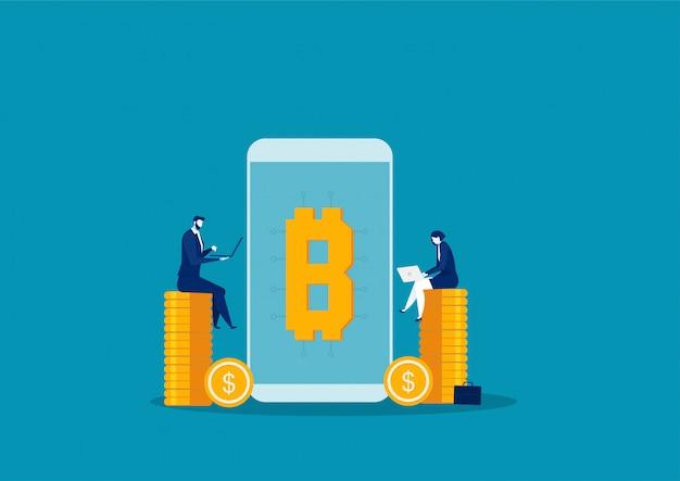Due laptop per la ricerca di aziende per finanziamenti online e investimenti per bitcoin e blockchain.