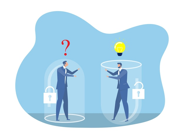 Due uomini d'affari che pensano diversamente tra il concetto di successo di mentalità fissa e mentalità di crescita