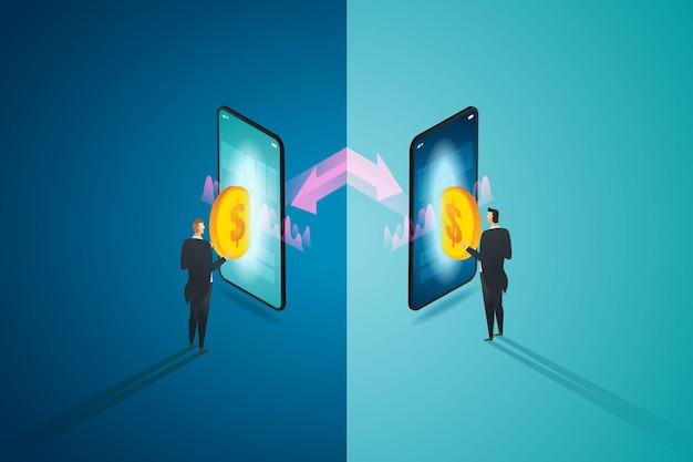Due uomini d'affari che interagiscono trasferiscono denaro digitale tramite smart phone con prestito peertopeer