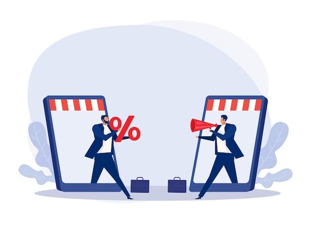 Offerta di due uomini d'affari tramite il concetto di promozione delle vendite del negozio online prezzi di vendita scontati, diminuzioni, acquisti, aumenti dei clienti.