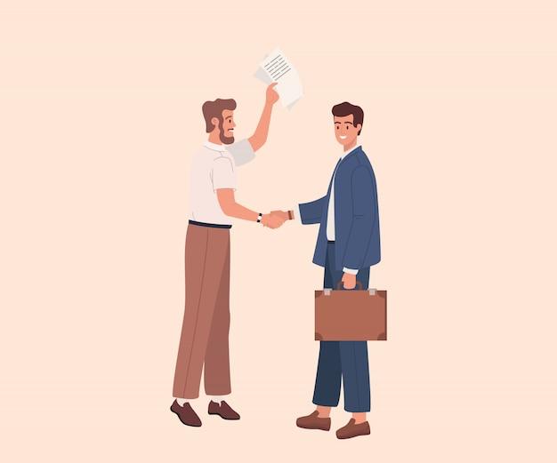 Due uomini d'affari si stringono la mano. disegno grafico del fumetto piatto illustrazione vettoriale. gli uomini d'affari concludono un contratto o un accordo