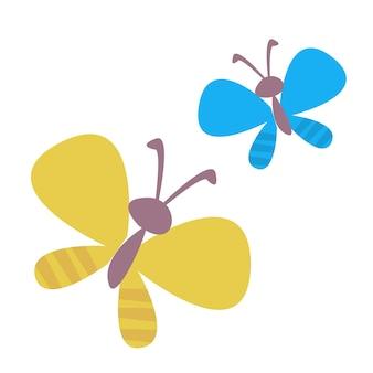 Due farfalle blu e gialle. disegno dei bambini carini. illustrazione vettoriale in stile cartone animato.