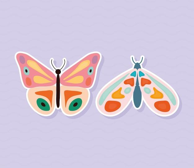 Due farfalle disegnate a mano stile su sfondo viola illustrazione