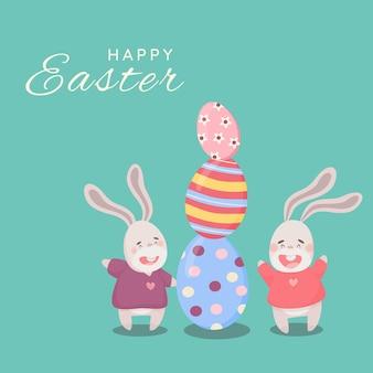 Due coniglietti di pasqua del fumetto che giocano felicemente vicino alle uova di pasqua. carta di pasqua luminosa in stile cartone animato carta di buona pasqua con coniglietti e uova illustrazioni vettoriali su uno sfondo turchese pastello