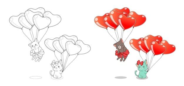 Due gatti e palloncini cuore cartoon facilmente pagina da colorare per bambini