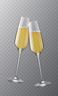 Due bicchieri di champagne. simbolo di brindisi di natale, evviva il natale, il compleanno e la selezione del matrimonio. clink realistici bicchieri da vino 3d. felice anno nuovo partito vettoriale isolato su sfondo trasparente concept