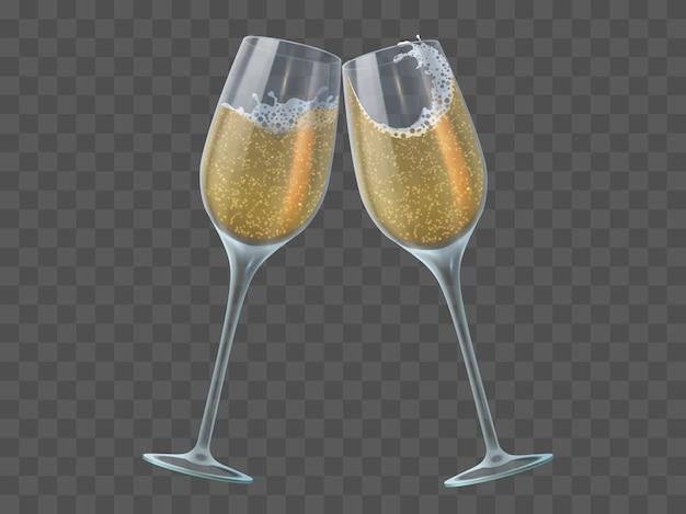 Due bicchieri di champagne. brindisi di calici con vino bianco frizzante trasparente e bollicine. natale, elementi vettoriali isolati di capodanno. bicchiere di champagne per l'illustrazione della celebrazione del nuovo anno