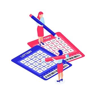 Due personaggi che compilano i biglietti della lotteria illustrazione isometrica 3d