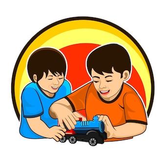Due bambini che giocano al trenino