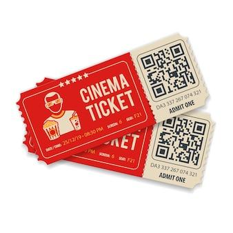 Due biglietti del cinema con codice qr, visualizzatore, popcorn e soda, icone di stile piatto, illustrazione vettoriale isolata