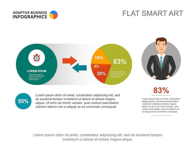 Design infografico a due cerchi. modello modificabile per diagramma a torta, grafico a percentuale.