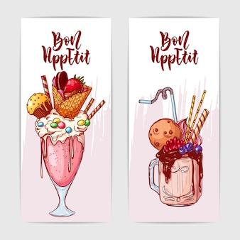 Due striscioni colorati con gustosi frullati di mostri