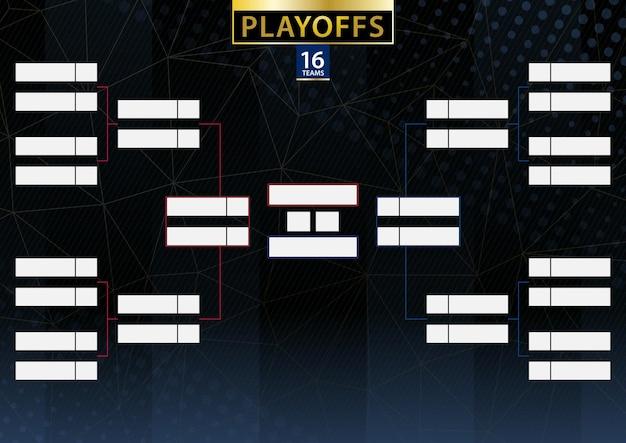 Staffa del torneo di due conferenze per 16 squadre o giocatori su sfondo scuro. programma di vettore dei playoff.
