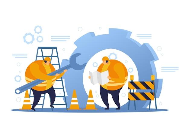 Due operai edili che progettano di costruire un edificio. design piatto dell'operaio edile.