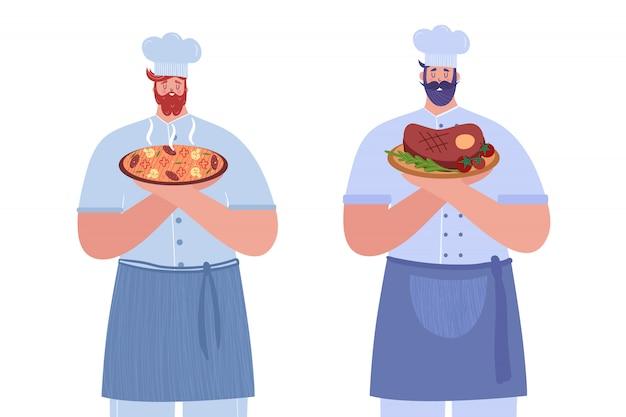 Due cuochi. il primo cuoco tiene la pizza calda. il secondo cuoco tiene una bistecca. illustrazione.