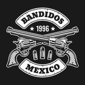 Emblema di due pistole incrociate isolato su oscurità