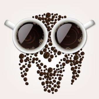 Due tazze di caffè con chicchi di caffè che formano un simbolo gufo