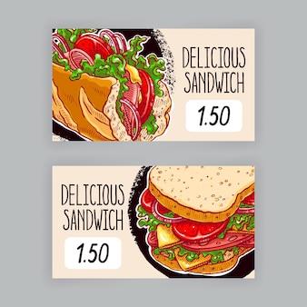 Due simpatici striscioni con appetitosi panini. etichette del prezzo. illustrazione disegnata a mano