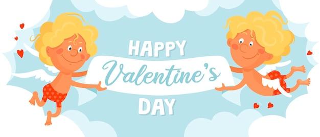 Due simpatici amorini divertenti in pantaloncini rossi stanno volando tra le nuvole e tengono uno striscione a nastro per san valentino.