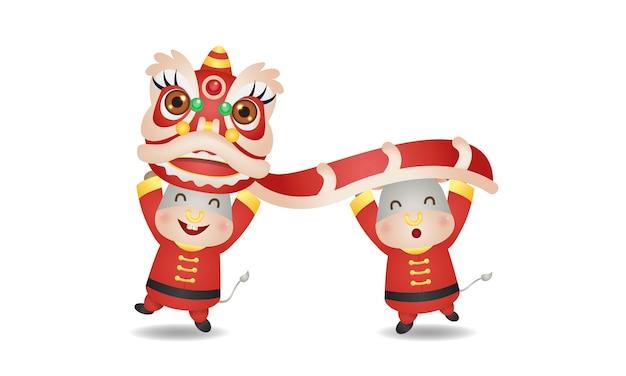 Due buoi svegli che ballano insieme del leone per il nuovo anno lunare 2021. vettore di stile cinese isolato su bianco.