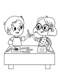 Due simpatici scolari che disegnano immagini illustrazione vettoriale in bianco e nero