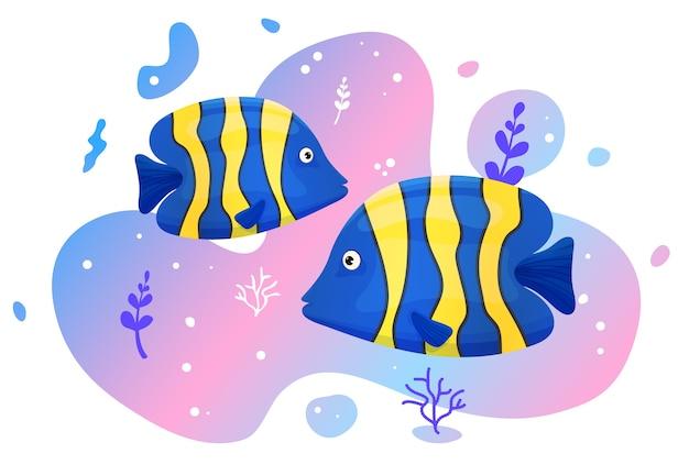 Due simpatici pesci tropicali nel mare. pesci dell'oceano dai colori vivaci. vita selvaggia marina subacquea. illustrazione.