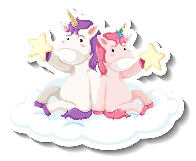 Due simpatici unicorni seduti sulla nuvola insieme adesivo cartone animato