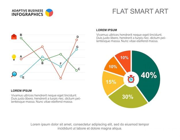 Presentazione grafica a due diagrammi. modello modificabile con grafico a linee, a torta e a percentuale