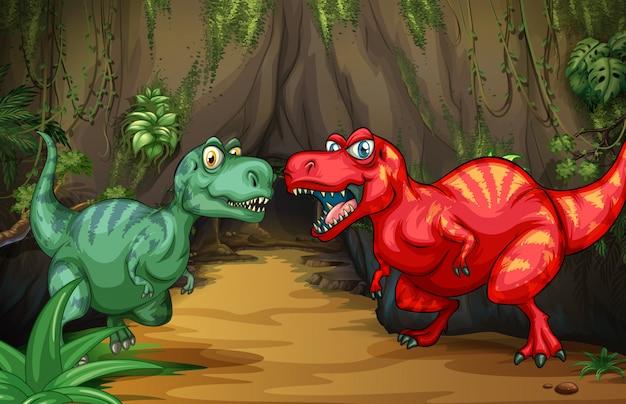 Due dinosauri vicino alla grotta