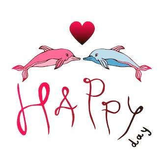 Due delfini amore con lettere happy day. illustrazione del fumetto vettoriale di san valentino