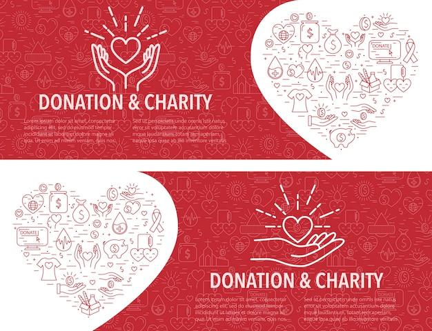 Modello di banner di due donazioni. banner orizzontale