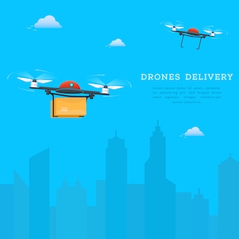 Due droni che volano sullo sfondo del paesaggio urbano