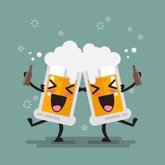 Carattere di due bicchieri di birra ubriaco