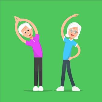 Due persone anziane che esercitano