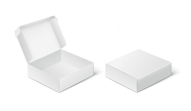 Due scatole di imballaggio vuote chiuse e aperte, mockup di scatola su sfondo bianco.
