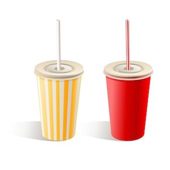 Due bicchieri di carta fast food con cannucce su sfondo bianco. illustrazione