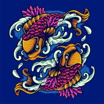 Progettazione disegnata a mano della maglietta dell'illustrazione dell'ornamento di due pesci