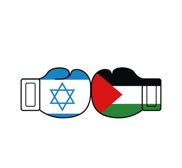 Due bandiere della palestina e di israele sui guantoni da boxe concetto di guerra di palestina e israele