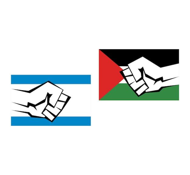 Due bandiere della palestina e di israele con l'immagine di un kulok guerra di palestina e israele