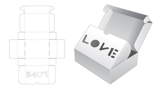 Scatola a due ribaltine con modello fustellato per finestra a forma di parola d'amore