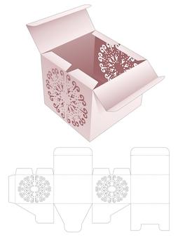 Scatola di imballaggio a due ribaltine con modello fustellato di stencil di mandala