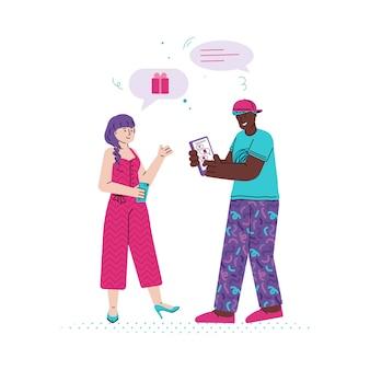 Messaggi di due amici tramite illustrazione piatta app di messaggistica isolato.